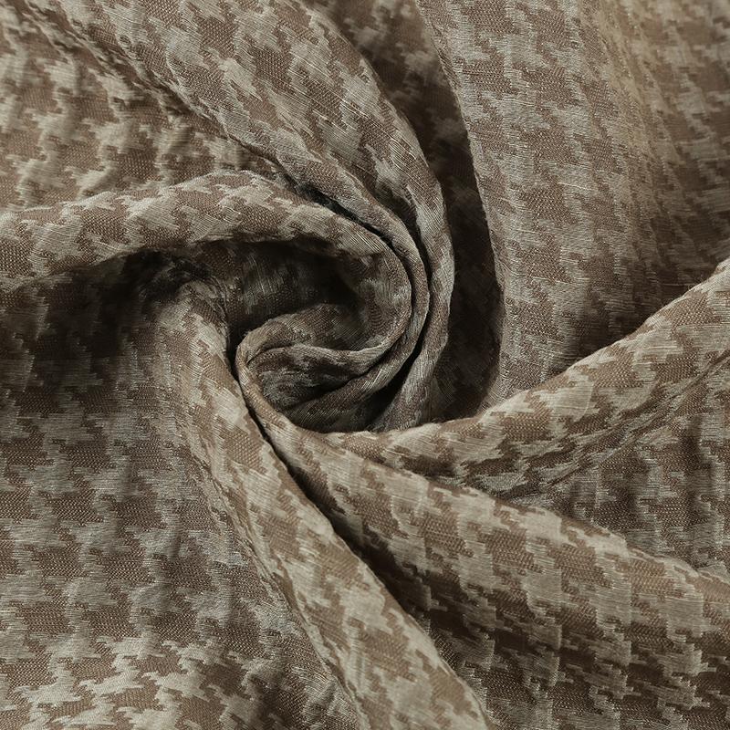 丝麻纺千鸟格SL46124,桑蚕丝与亚麻混纺,重磅真丝面料