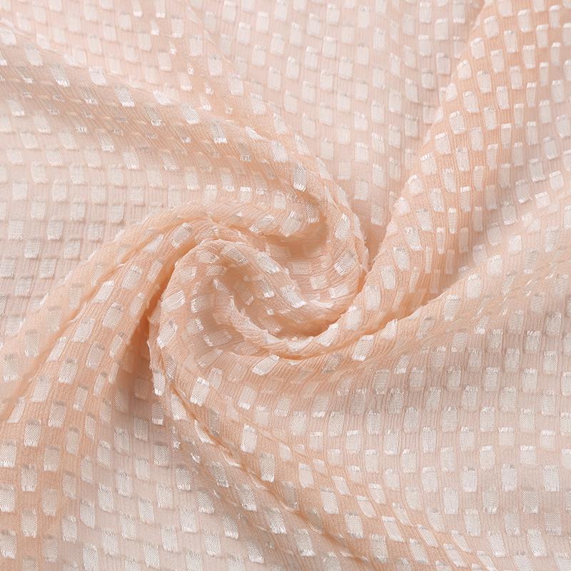 真丝人造丝剪花绡小方格SV5541,特色肌理真丝面料,高级时装面料