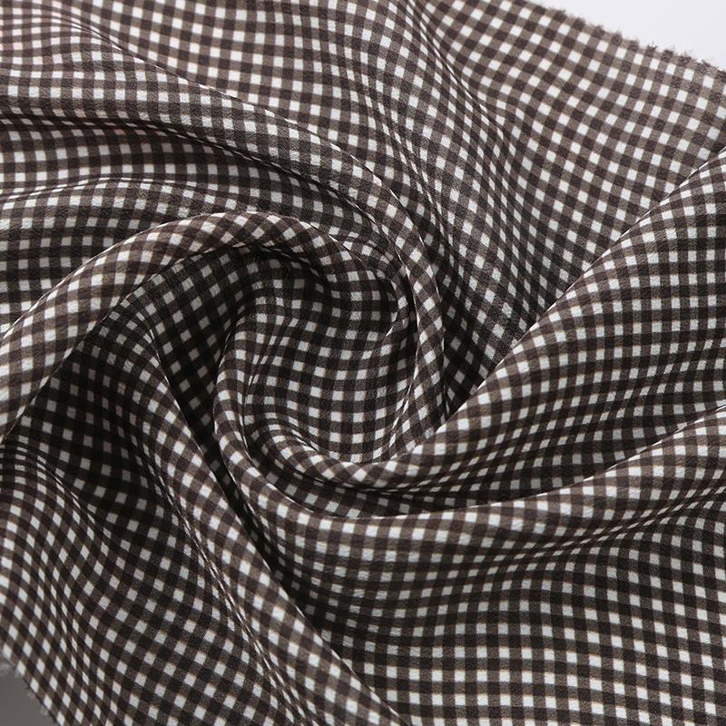 真丝印花小方格面料SV1263-Y,桑蚕丝和人造丝交织,新型连衣裙时装面料